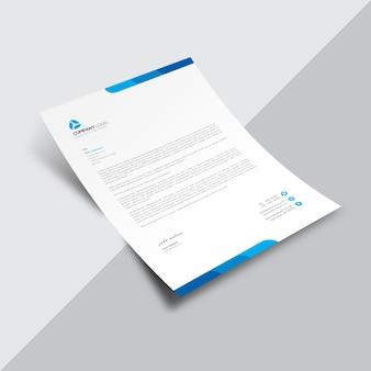 Document d'affaires blanc avec détails bleus