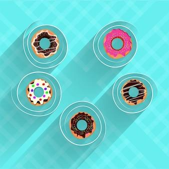 Donuts sur fond de ciel bleu.