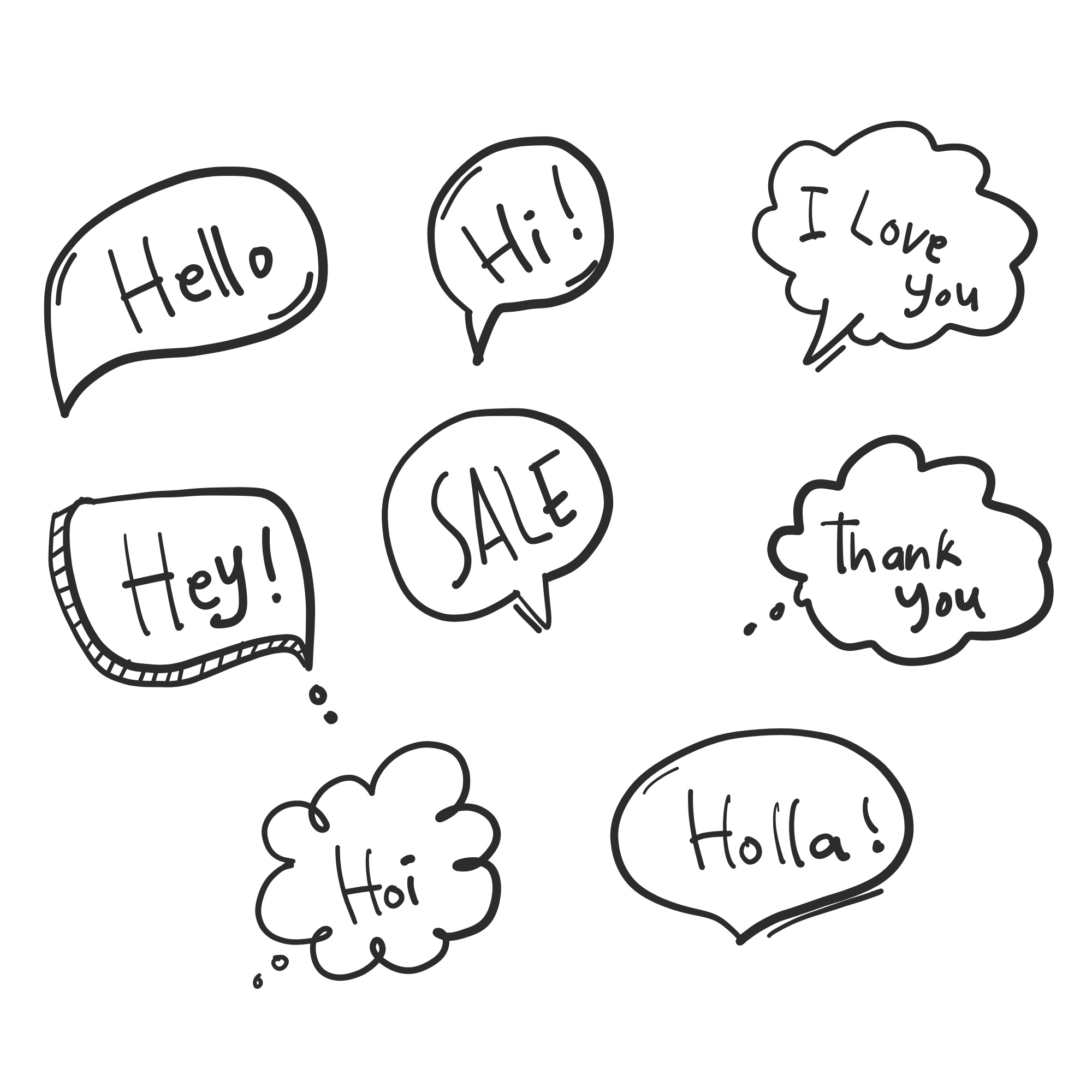 Doodle speech bubble vector