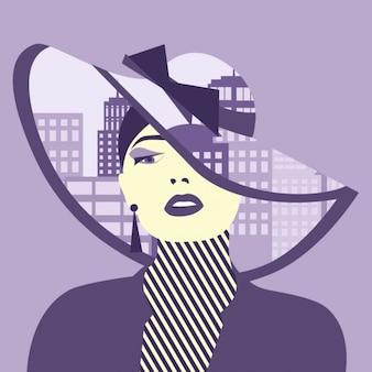 Double exposition illustration Femme avec la ville dans son chapeau