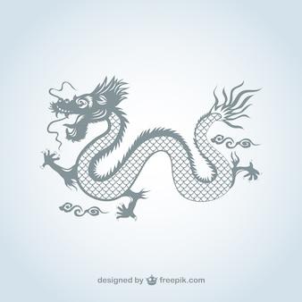 Dragon chinois en couleur gris