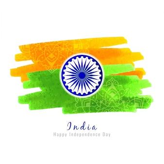 Drapeau indien, thème, aquarelle, style, fond