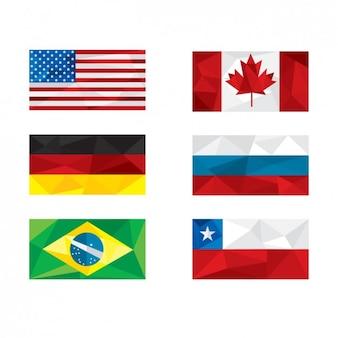 Drapeaux de la nation polygonales