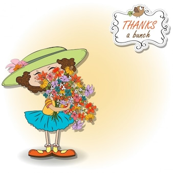 drôle de fille avec un bouquet de carte de fleurs