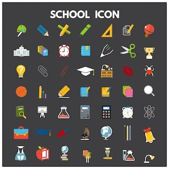 École, icône, plat, ensemble, tableau noir, ordinateur portable, étudiants, isolé, vecteur, illustration