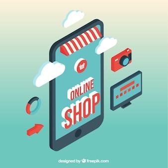 Écran mobile isométrique et magasin en ligne