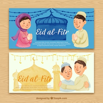 Eid al fitr bannières d'aquarelle avec des gens