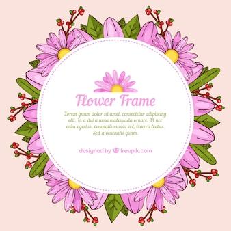 Élégant cadre floral rose