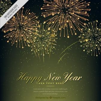 Elégant nouveau fond d'année avec un feu d'artifice d'or
