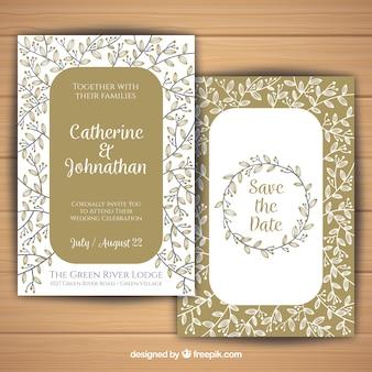 Élégante invitation de mariage en style vintage avec des fleurs