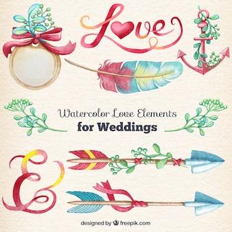 Éléments d'amour d'aquarelle pour le mariage