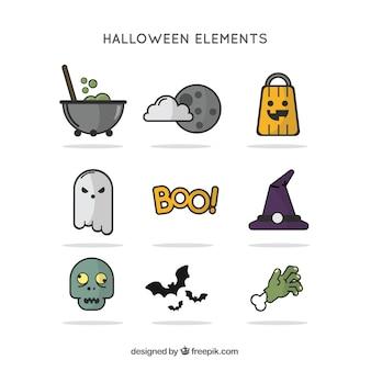 éléments d'Halloween dans le style plat