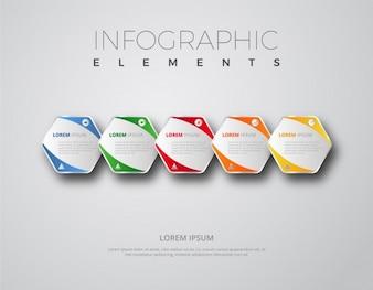 Eléments d'infographie avec forme hexagonale