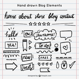 éléments de blog dessinés à la main mis