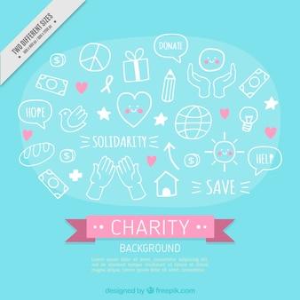 éléments de charité dessinés à la main mignonne fond