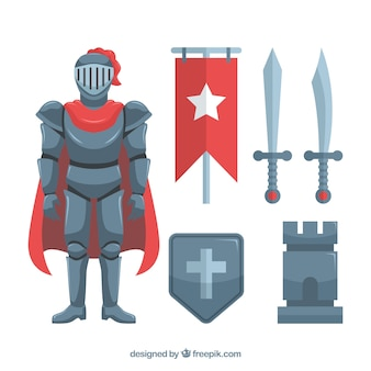 Éléments de chevalier avec un design plat