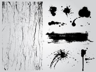 Éléments de conception grunge noir et blanc