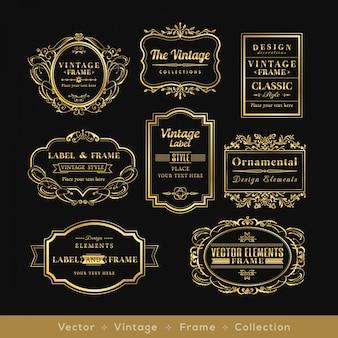éléments de design de cadre logo rétro or badge vinage