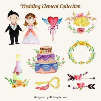 Éléments de mariage avec style aquarelle