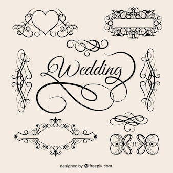 éléments de mariée vintage vecteur