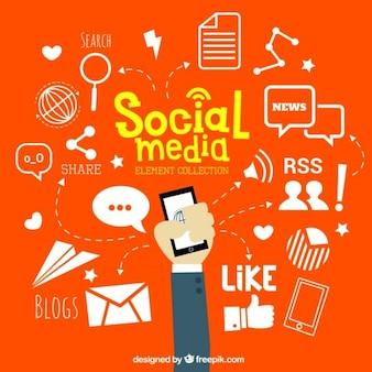 éléments de médias sociaux dessinés à la main