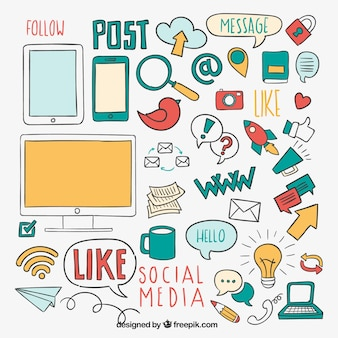 Éléments de médias sociaux Sketchy