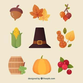 Éléments de Thanksgiving avec style mignon