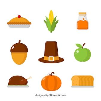 Éléments de Thanksgiving avec un design plat