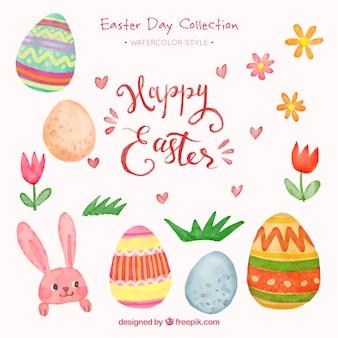 éléments décoratifs de Pâques dans le style d'aquarelle