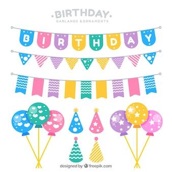 Eléments décoratifs pour les designs de fêtes d'anniversaire