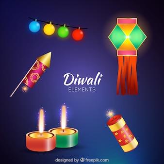 Éléments diwali colorés