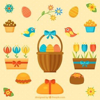 éléments et fleurs de Pâques mignon