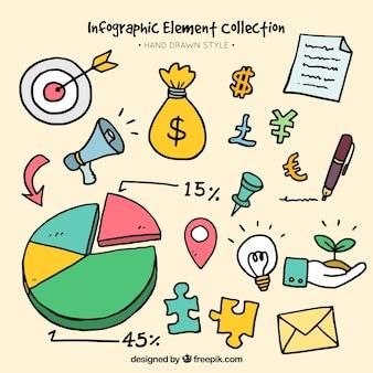 éléments infographiques de couleur dans le style dessiné à la main