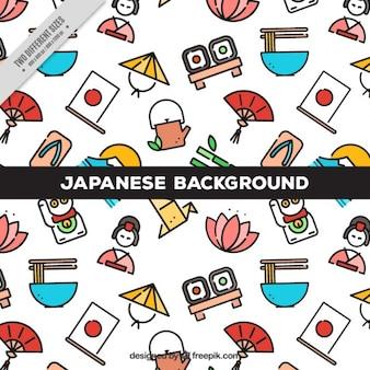 éléments japonais en linéaire de fond style