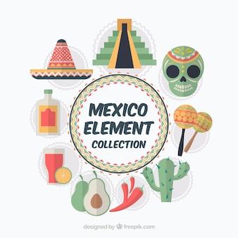 Éléments mexicains colorés
