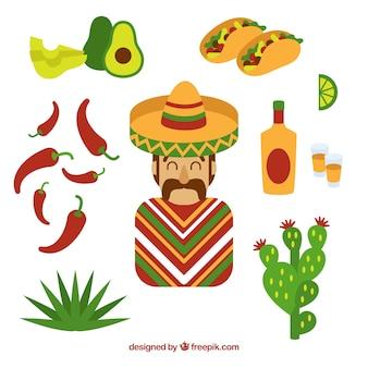 Éléments mexicains mignons