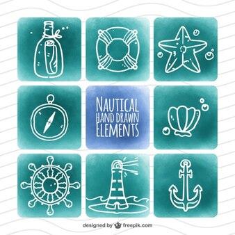 éléments nautiques Aquarelle dessinés à la main