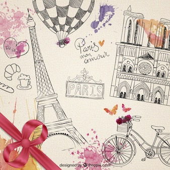 éléments parisiens dessinés à la main
