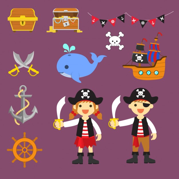 éléments pirates colorés