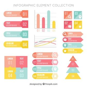 Eléments utiles en couleurs pastel pour infographies