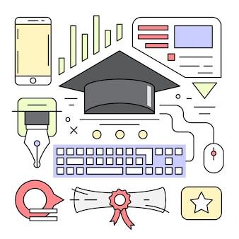 Éléments vectoriels d'éducation linéaire