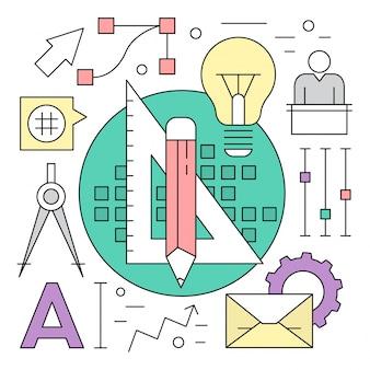 Éléments vectoriels de conception linéaire et d'ingénierie