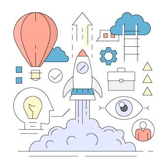 Éléments vectoriels linéaires de démarrage et d'affaires