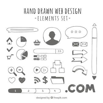 éléments web dessinés à la main utiles