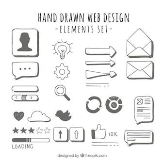 éléments web dessinés à la main