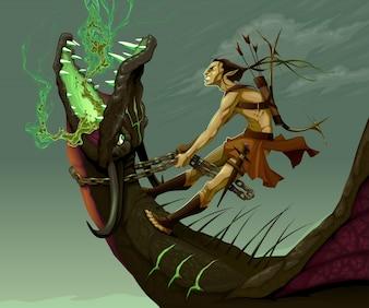 Elf est monté sur le dragon Vector illustration fantastique