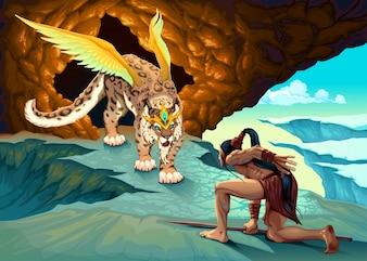 Elf s'occupe d'une illustration vectorielle de lynx ailée
