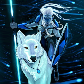 Elfe au loup blanc Vector fantasy illustration