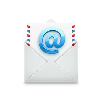 Email concept objet réaliste isolé sur blanc