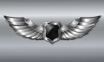 Emblème de bouclier à ailes métalliques noires